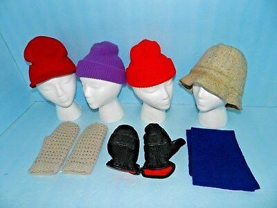 Lot of Hats~Gloves~mittens~ 4 Hats 2 Pairs of Gloves and 1 Scarf~Good Condition!