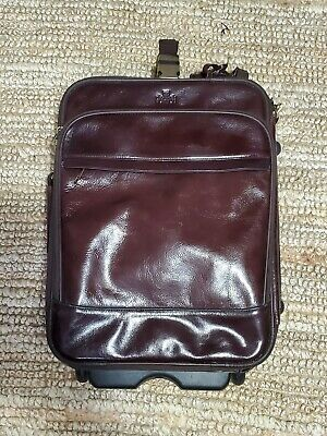 ROWALLAN OF SCOTLAND Brown Leather Rolling Travel Carry-On Bag Suitcase (no key)