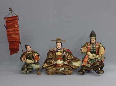 Antique Japanese Armed Samurai Doll Set of 3, Hedeyoshi, Kiyomasa and Hatamochi