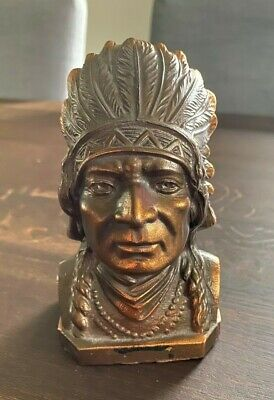 Vintage Native American Indian Chief Bust Coin Bank