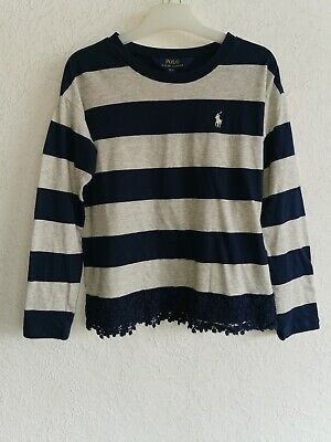Polo Ralph Lauren girls cotton blend long sleeve striped tops size S 7 years