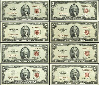 1953 $2 Red Seal (Lot Of 8) Us Notes Almost Uncirculated *Very Nice* Sharp #355