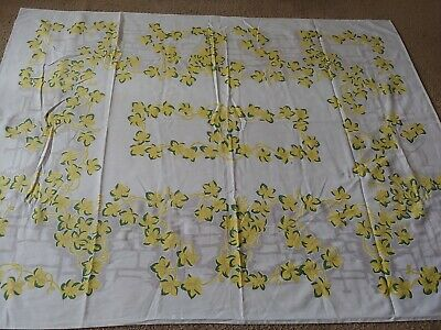 "Vintage Tablecloth 50"" by 63.50"" Yellow lily Floral Pattern"