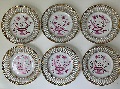 6 Reticulated Porcelain Plates Hand Painted Vivid Pink Flowers Meissen Inspired