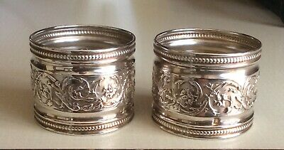 A Pair Of Silver Hall Marked Patterned Napkin Rings