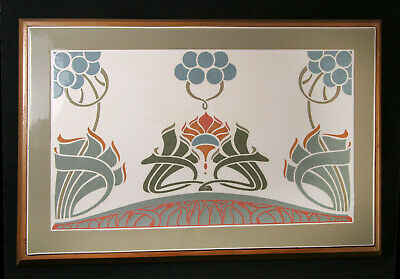 HUGE ART NOUVEAU JUGENDSTIL FIREPLACE-SIZE FRAMED TILE, TRIVET, c.1900-1910