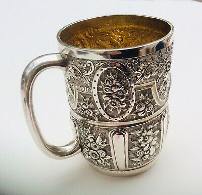 Antique Victorian Christening Mug - Gold Gilt Interior