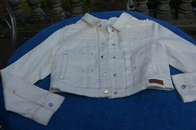 Mayoral Spanish designer off white cropped jeans top age 13-14 with application
