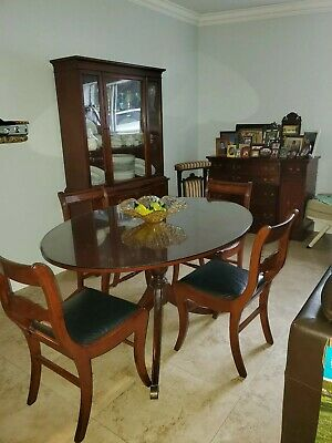 ANTIQUE Dining Room TABLE, 4 CHAIRS, Buffet and China .MAHOGANY, 1940S