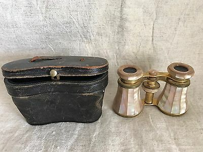 Antique Mother Of Pearl Binoculars From Paris With Leather Case!!  Gorgeous!!