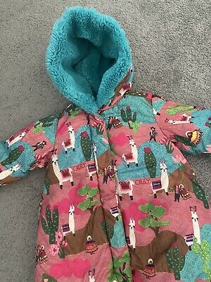 oilily girls llama Print Pink & Blue Fur coat age 2 size 92 Excellent Condition