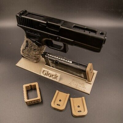 Airsoft Glock Accessory Bundle - Display Stand, Mag Loader and Base Plates