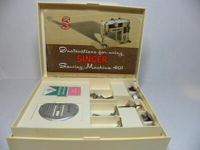 VTG Singer Sewing Accessories Box & attachments Model 401 401A