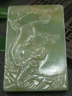 Chinese Antique Celadon Nephrite Hetian-OLD Jade TIGER statues/Pendant