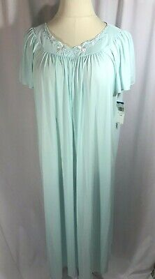 Miss Elaine XL Nightgown Turquoise Blue Flutter Sleeves Nylon Silky Long Length