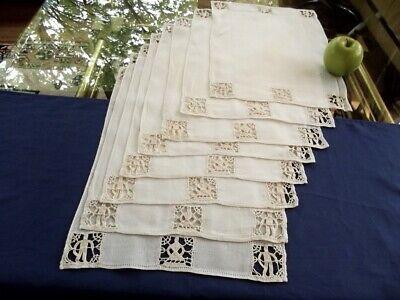 8 Antique Homespun Italian Linen Placemats Figural Needle Lace He & She Figures