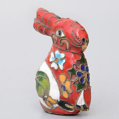 Collectable China Old Cloisonne Hand-Carve Lovely Rabbit Delicate Decor Statue