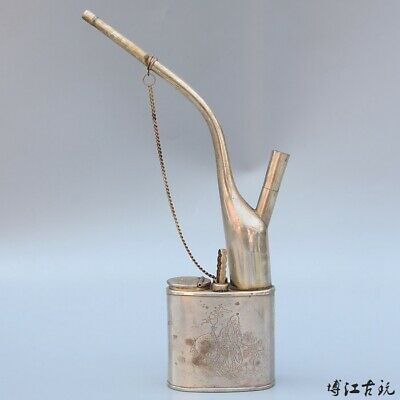 Collectable China Old Miao Silver Hand-Carved Immortal Auspicious Tobacco Pipe