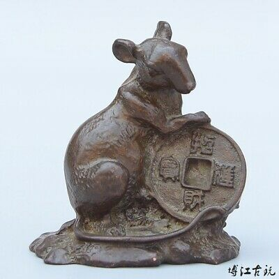 Collectable China Old Red Copper Hand Carve Mouse & Wealth Delicate Decor Statue