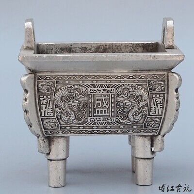 Collect China Old Miao Silver Hand-Carved Myth Dragon Auspicious Incense Burner