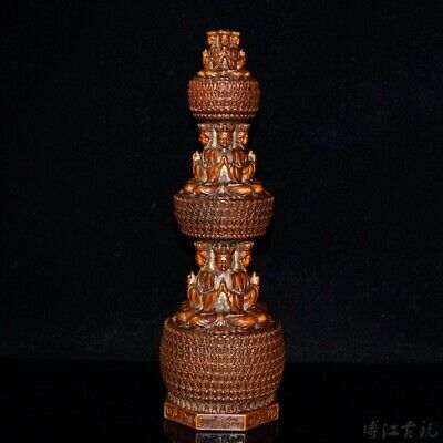Collectable China Old Boxwood Hand-Carved Buddha Pagoda Exorcism Decorate Statue