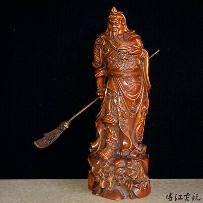Collect China Old Boxwood Hand-Carved General Guan Yu Delicate Souvenir Statue