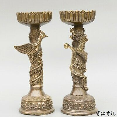 Collect Old Bronze Hand-Carved Myth Dragon & Phoenix A Pair Lotus Candelabrum