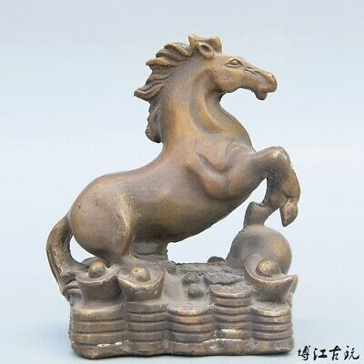 Collectable China Old Bronze Hand-Carved Horse & Wealth Bring Luck Decor Statue