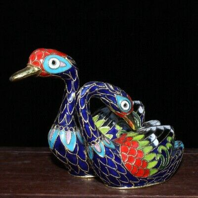 Collect China Old Cloisonne Hand-Carved Beautiful Swan Bring Luck A Pair Statue