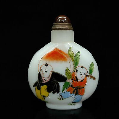 Chinese Antique Glass Child & Fish Pattern snuff bottle   BYH-053