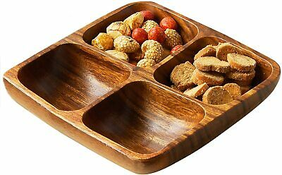 Premier Housewares Acacia Wood 4 Section Square Serving Dish, 5 x 20 x 20 cm