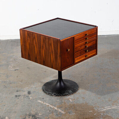 Mid Century Modern Jewelry Chest Side Table Artisan George Nelson Walnut Cube
