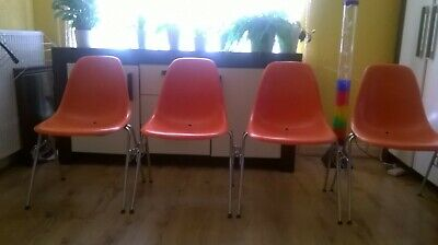 4 Fibreglass Eames Dss Chairs By Herman Miller  Orange