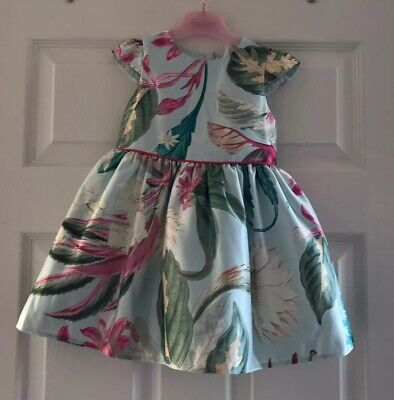 BNWT Next Baby Girl Toddler Aqua Floral Party Dress Age 18-24 Months 1.5-2 Yesrs