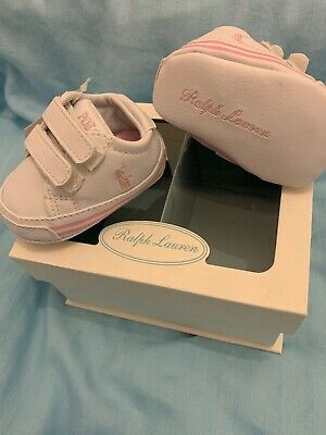 New Polo Ralph Lauren Gift Boxed White/Pink Baby Girl Shoes Size 2 (3-6 Months)