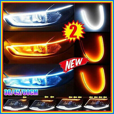 2x Sequential LED Strip Turn Signal Indicator DRL Daytime Running Lights for Car