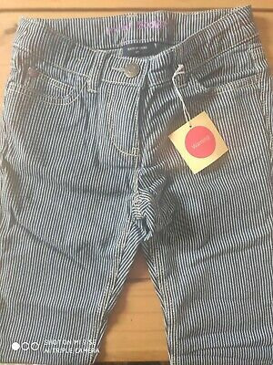 BNWT Mini Boden blue and white striped girls adjustable waist trousers age 6