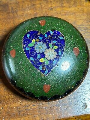 Antique Japanese Cloisonne Small Kogo (Round Box) Meiji Period Excellent