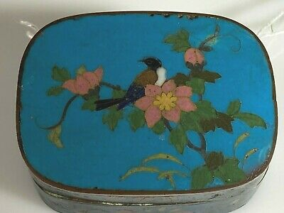 Antique Japanese Cloisonne Small Box Meiji Period Excellent