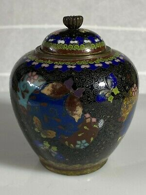 Antique Japanese Cloisonne Small Lidded Caddy Meiji Period Excellent