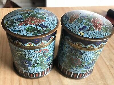 A Pair Of Chinese Cloisonne Tea Caddies / Humidors 19Th Century