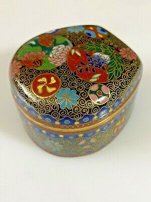 Antique Japanese Cloisonne Hinged Box Meiji Period Excellent