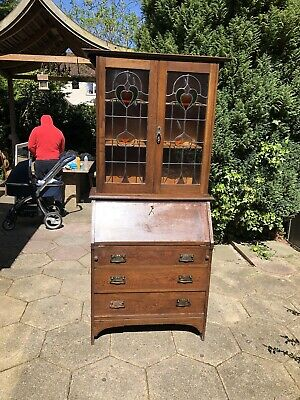 Wooden Writing Bureau Bookcase Art Deco Glass 3 Drawers Lock And Key