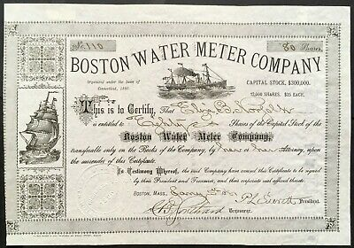 BOSTON WATER METER COMPANY Stock 1881. CT. Early Water Meters. Boston, MA.  VF++