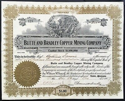 BUTTE and BRADLEY COPPER MINING COMPANY Stock 1907 Butte, Silver Bow Co, Montana
