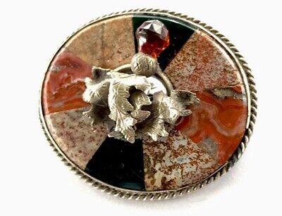 Antique Large Victorian Silver Specimen Scottish Thistle Agate Brooch GIFT BOXED