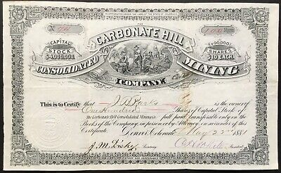 CARBONATE HILL CONSOLIDATED MINING COMPANY Stock 1881. Leadville, Lake Co., CO
