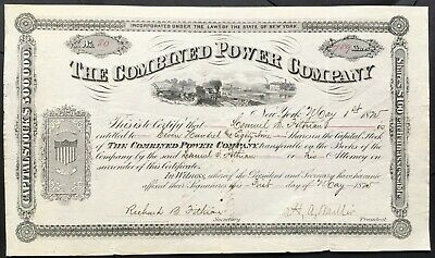 COMBINED POWER COMPANY Stock 1875. New York. Coal. Coke. Mills. Forges. Steam.