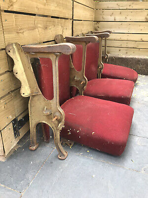 Row of 3 x Vintage Cast Iron and Red Upholstered Cinema Seats
