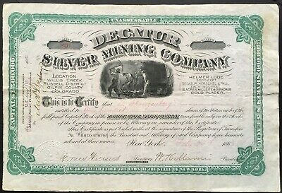 DECATUR SILVER MINING COMPANY Stock 1882. Central City, Gilpin County, Colorado
